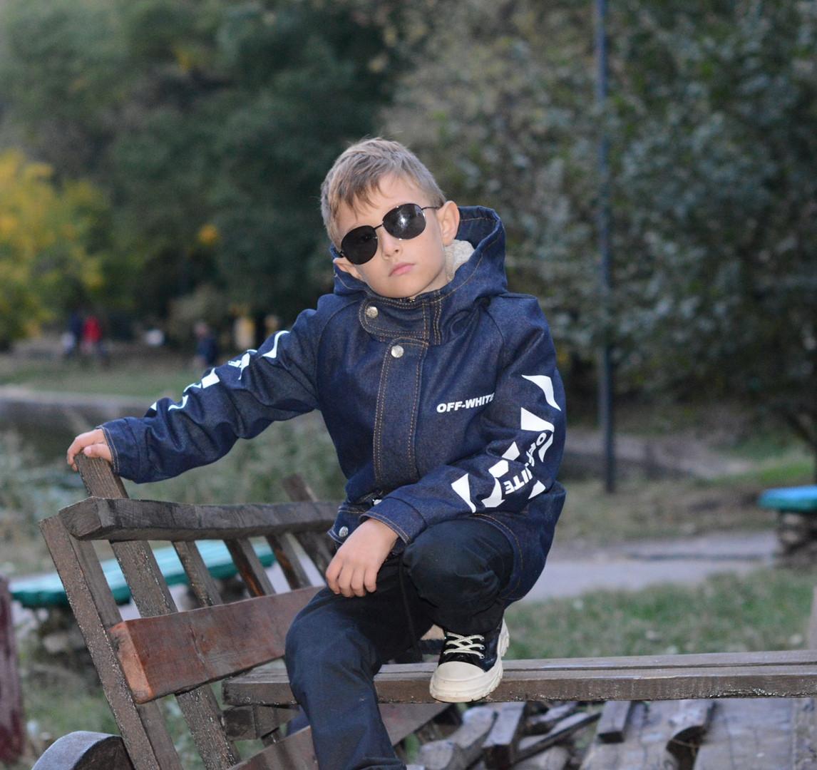 Джинсова парку для хлопчика з хутром демісезонна.