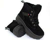 Замшевые зимние ботинки на толстой подошве, фото 1
