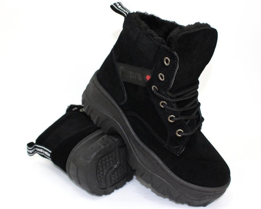 Замшевые зимние ботинки на толстой подошве