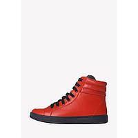 Кожаные красные спортивные ботинки, высокие демисезонные кеды