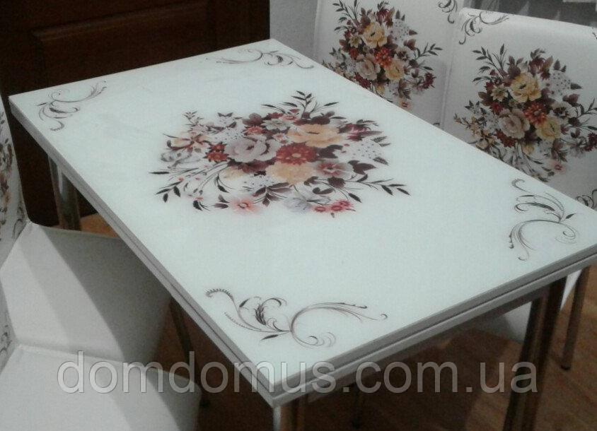 """Комплект обідній меблів """"Buket"""" (стіл ДСП, гартоване скло + 4 стільця) Mobilgen, Туреччина"""