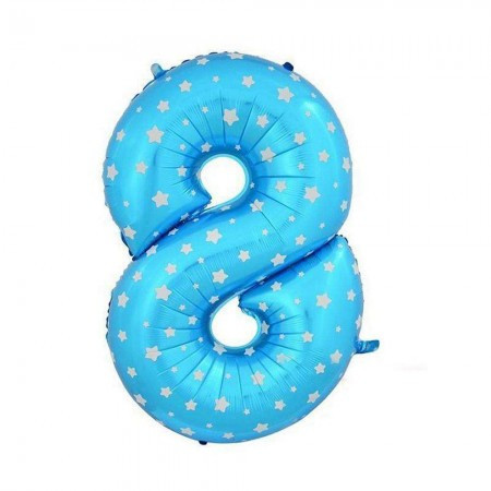 Шарик Цифра (80см) голубой 8
