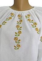 Вишиванка из льна, детская и женская. Белого цвета с длинным рукавом. Разм.:170-170см. Davanti.