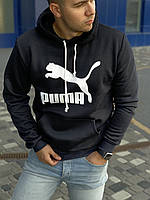 Мужская зимняя кофта-худи, балахон, кенгуру, мужская кофта с капюшоном на флисе Puma, пума, Реплика