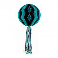 Бумажный шар соты Хэллоуин (30см) черный с голубым, фото 1
