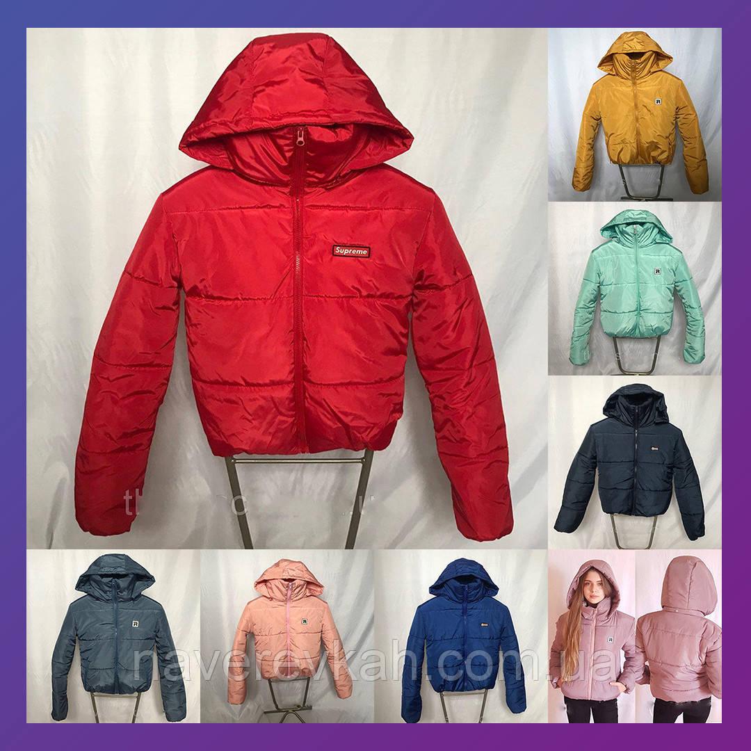 Женская зимняя куртка с капюшоном воротник стойка бочка дутая куртка 42 44 46 48, фото 1