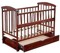 Кроватки Наталка для новорожденных с маятником, с ящиком, откидной бок