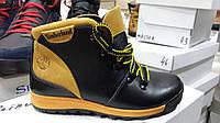 Подростковые ботинки Timberland из натуральной кожи черно - желтые. Украина