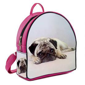 Розовый стильный городской рюкзак с принтом Мопс