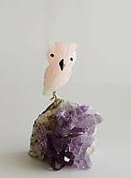 Сова из камня 9 см. Розовый кварц/аметист (XS)