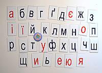 Строчные буквы украинского алфавита. Пластиковые карточки для наборного полотна