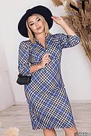 Женское стильное трикотажное платье в клетку миди батальное