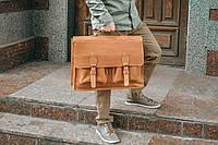 Коричневая кожаная сумка для ноутбука, кожаный мужской портфель, фото 1