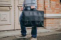 Черная кожаная сумка для ноутбука 17 дюймов, Кожаный мужской портфель, фото 1