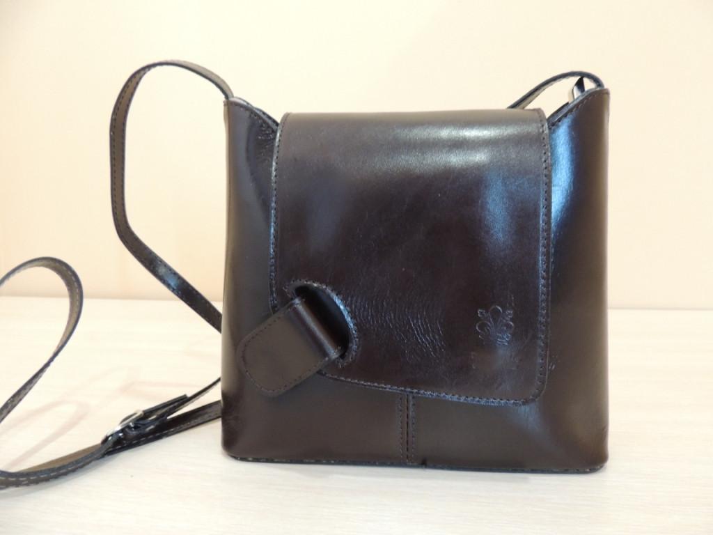 Молодежная кожаная сумка из Италии. Темно-коричневая