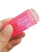 Прозрачный силиконовый штамп для стемпинга со скрапером (розовый)