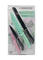 Набор кухонных ножей (4шт) Ernesto Uni Черный, Мятный, Розовый