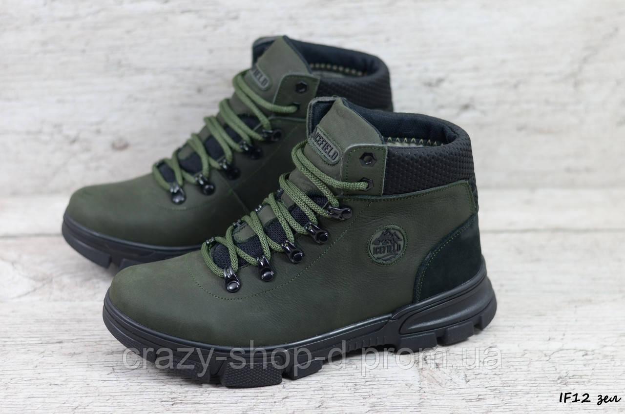 Мужские кожаные зимние ботинки IceField (Реплика) (Код: IF12 зел   ) ►Размеры [40,41,42,43,44,45]