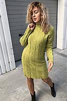 Теплое трикотажное платье с косами P-M - салатовый цвет, L/XL (есть размеры)