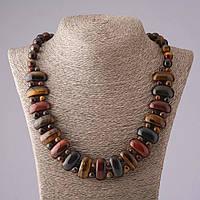 Ожерелье Клеопатра из натуральных камней Тигровый, Соколиный и Бычий глаз
