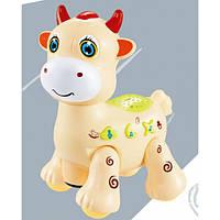 Игрушка Электронная Музыкальная Лед лампа Мультяшная корова D Jin Shang Lu бежевая