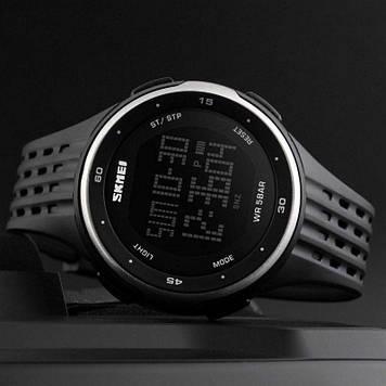 Наручные спортивные часы SKMEI 1219 Черный с Серебристой вставкой