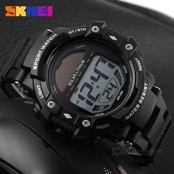 SKMEI 1129 Solar черные спортивные мужские часы