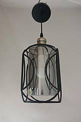 Люстра-светильник подвесной светло-пепельный плафон-цилиндр в черной решетке