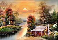"""Алмазная живопись """"Лесной дом у реки"""""""