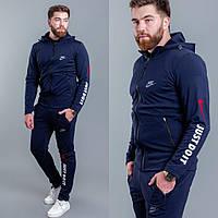 Мужской теплый спортивный костюм-двойка с капюшоном Nike черный синий