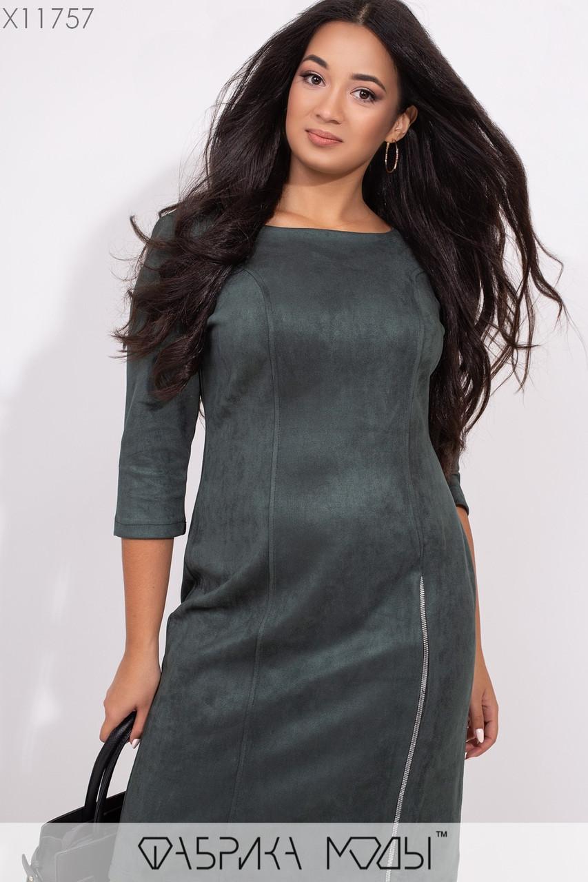 Замшевое платье с U-образным вырезом рукавами 3/4, рабочей змейкой сбоку на потайной молнии сзади X11757