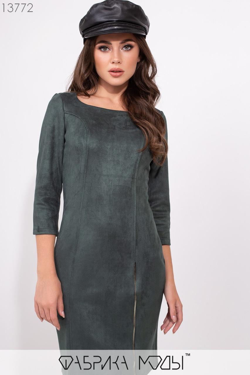 Замшевое платье с U-образным вырезом рукавами 3/4, рабочей змейкой сбоку на потайной молнии сзади 13772