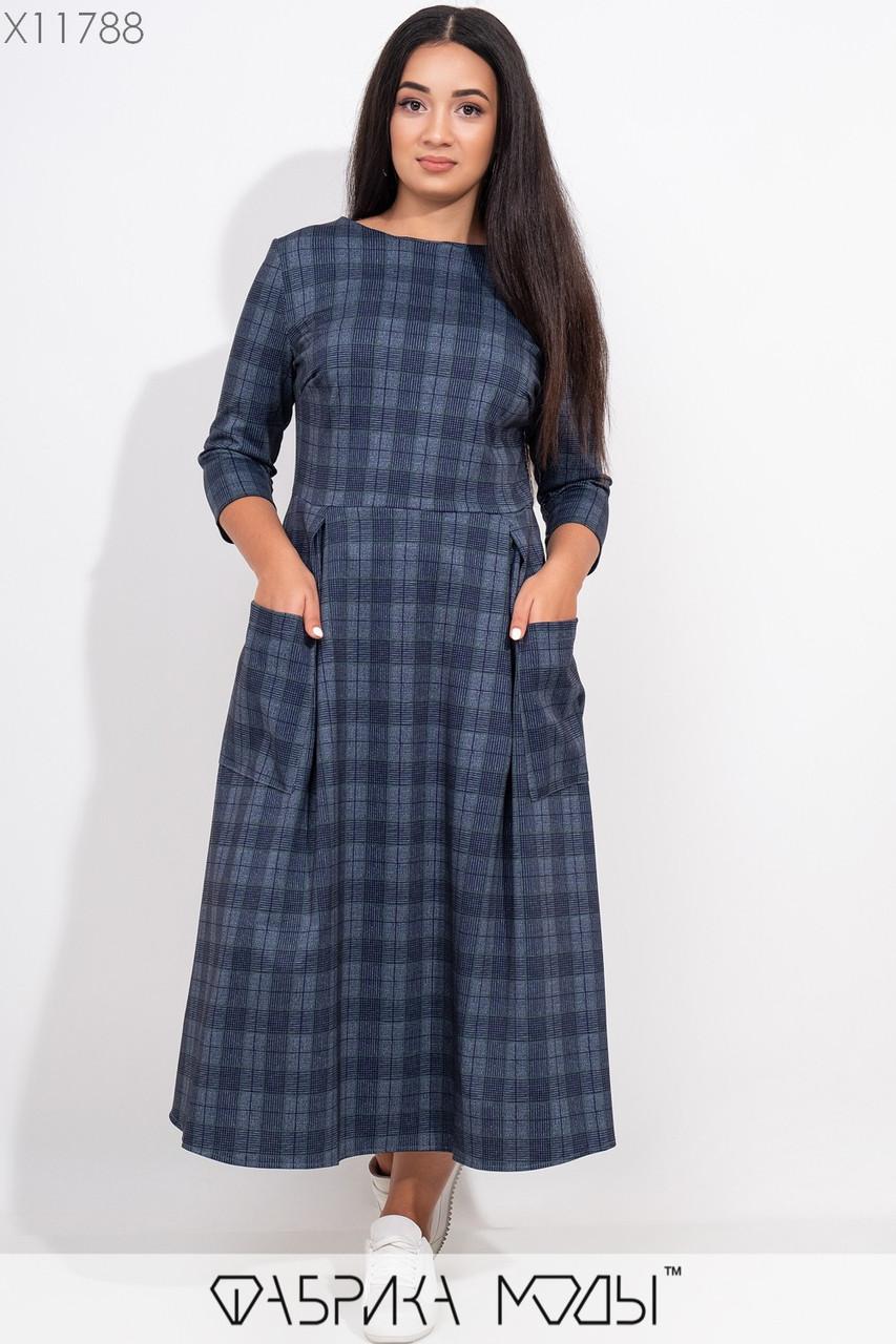 Длинное платье А-силуэта с элегантным вырезом, зауженными рукавами 3/4 накладными карманами и потайной молнией сбоку X11788