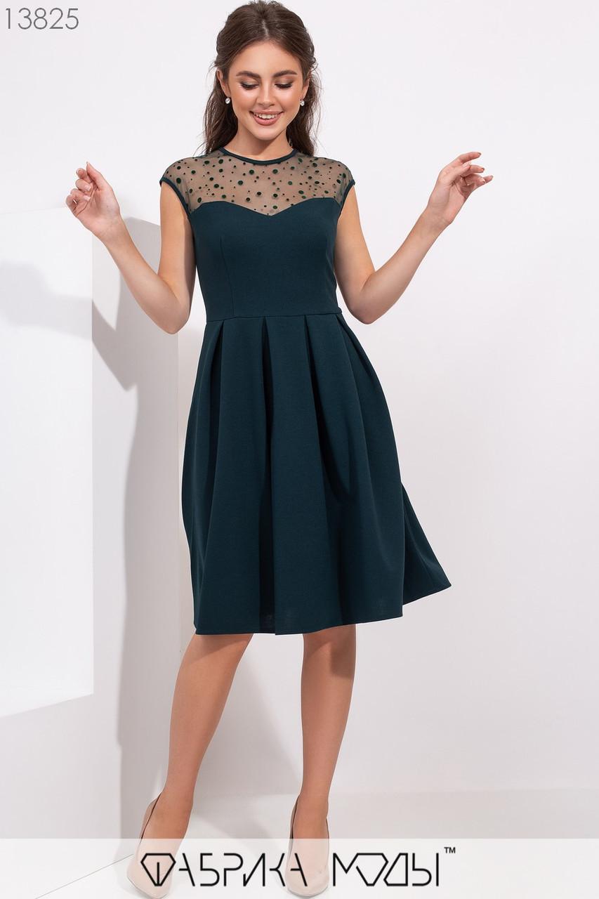 Платье с двухсторонней кокеткой в горошек из сетки с флоком и расшклешенной юбкой в складку 13825