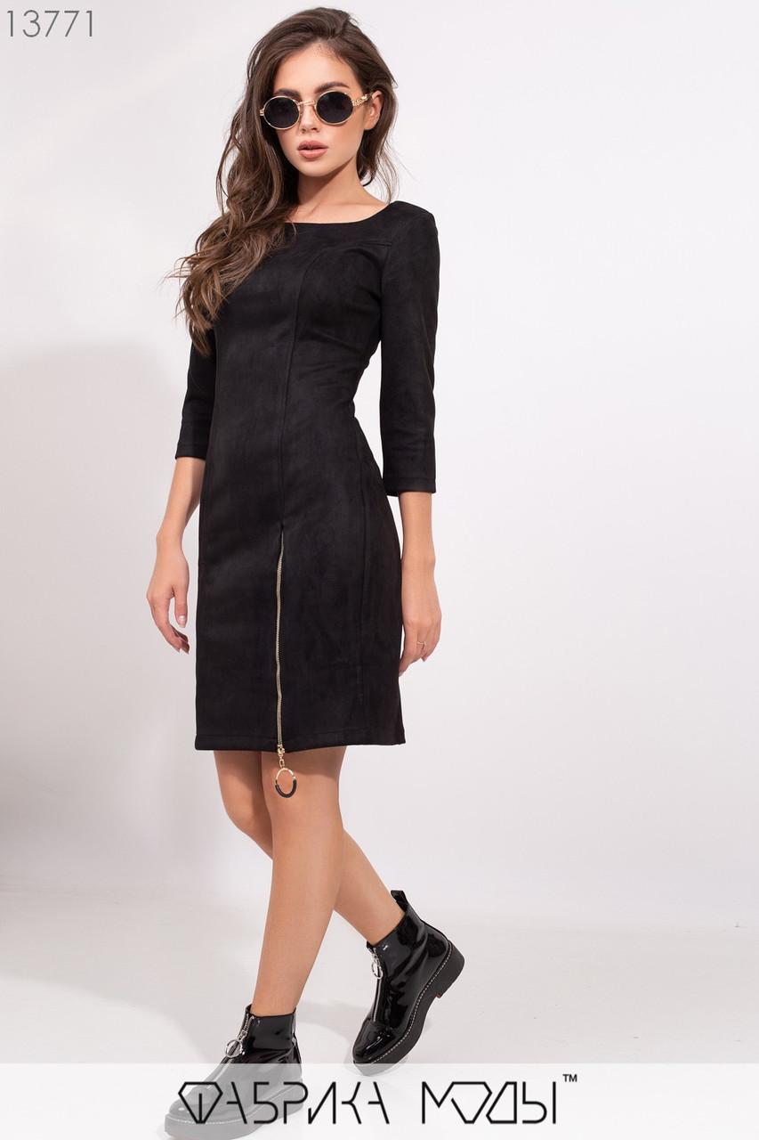 Замшевое платье с U-образным вырезом рукавами 3/4, рабочей змейкой сбоку на потайной молнии сзади 13771