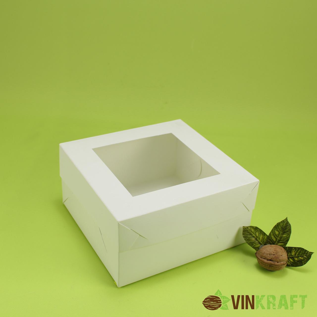 Коробка 170*170*90 для десертів з вікном, біла