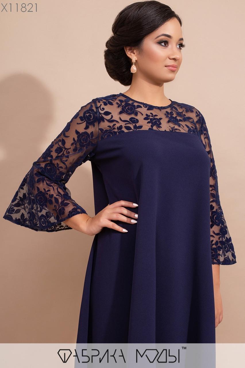 Платье прямого кроя с двусторонней кокеткой и отделкой из флока на сетке на рукавах колокол длины 7/8 X11821