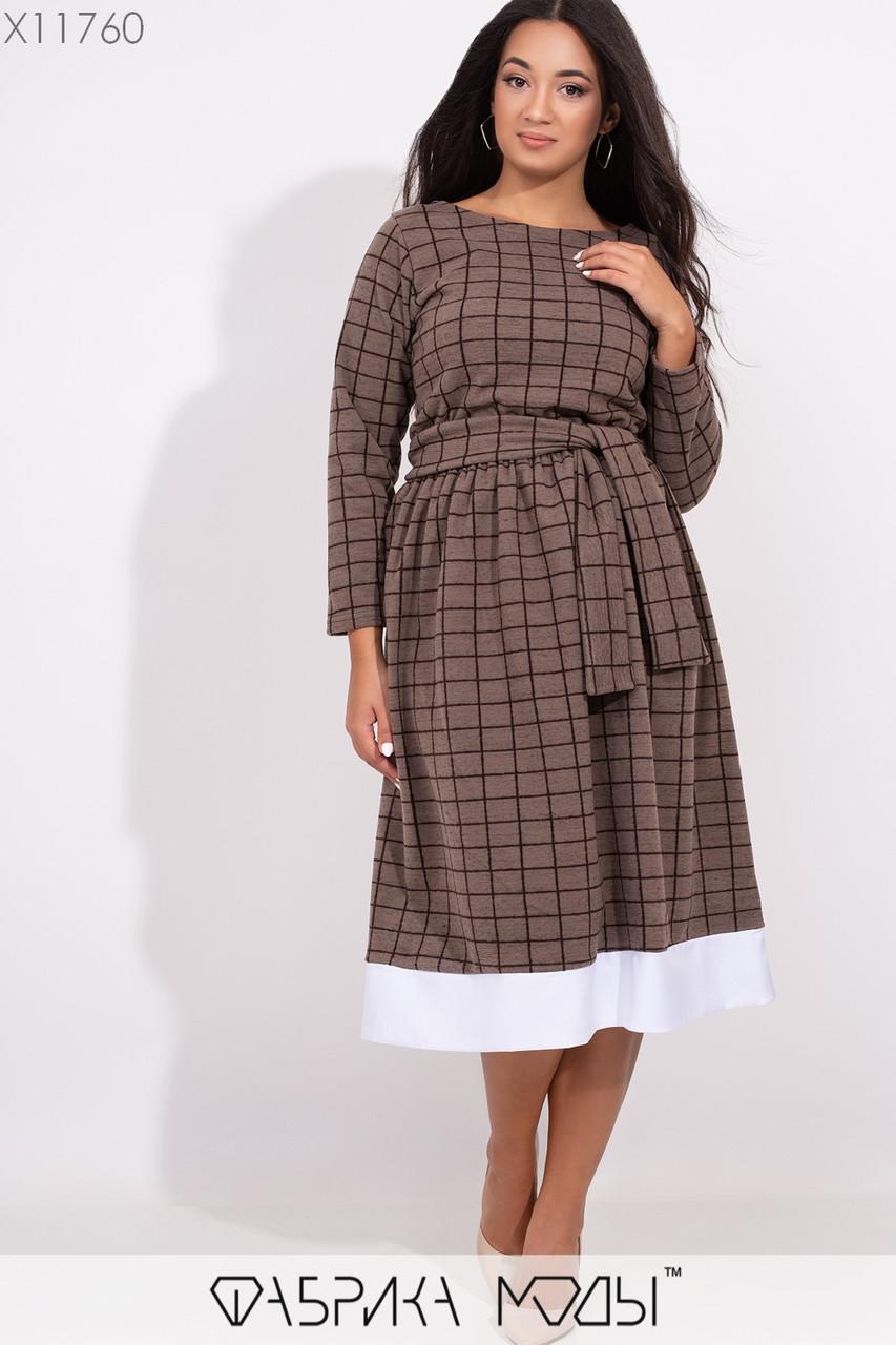 Платья А-кроя в клетку с круглым вырезом и съемным поясом по отрезной талии на резинке и контрастной окантовкой на подоле X11760
