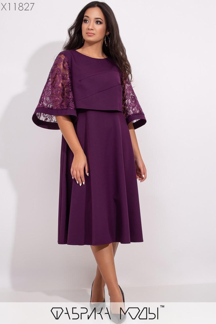 Платье миди А-кроя с вшитой несъемной накидкой с фигурными выточками и вышивкой из пайеток на расклешенных рукавах 3/4 X11827