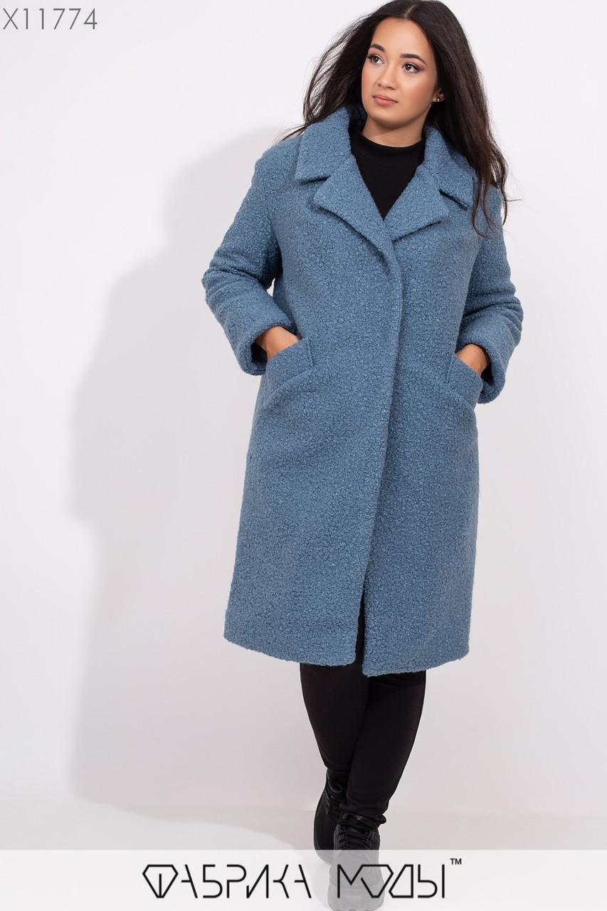Фактурное пальто на подкладе прямого кроя с лацканами, съемным поясом и прорезными карманами X11774