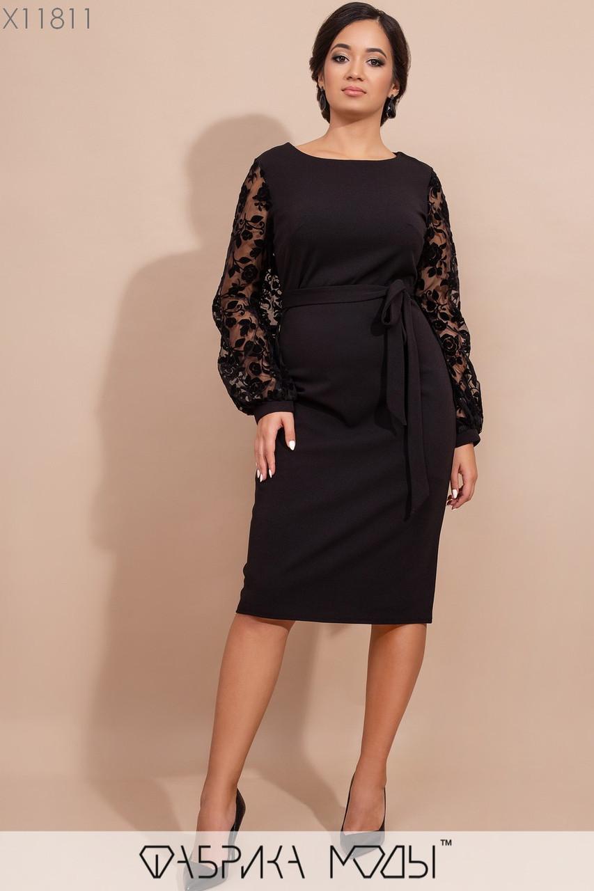 Платье миди с круглым вырезом, полупрозрачными длинными рукавами фонарик из флока на сетке и съемным поясом по талии X11811