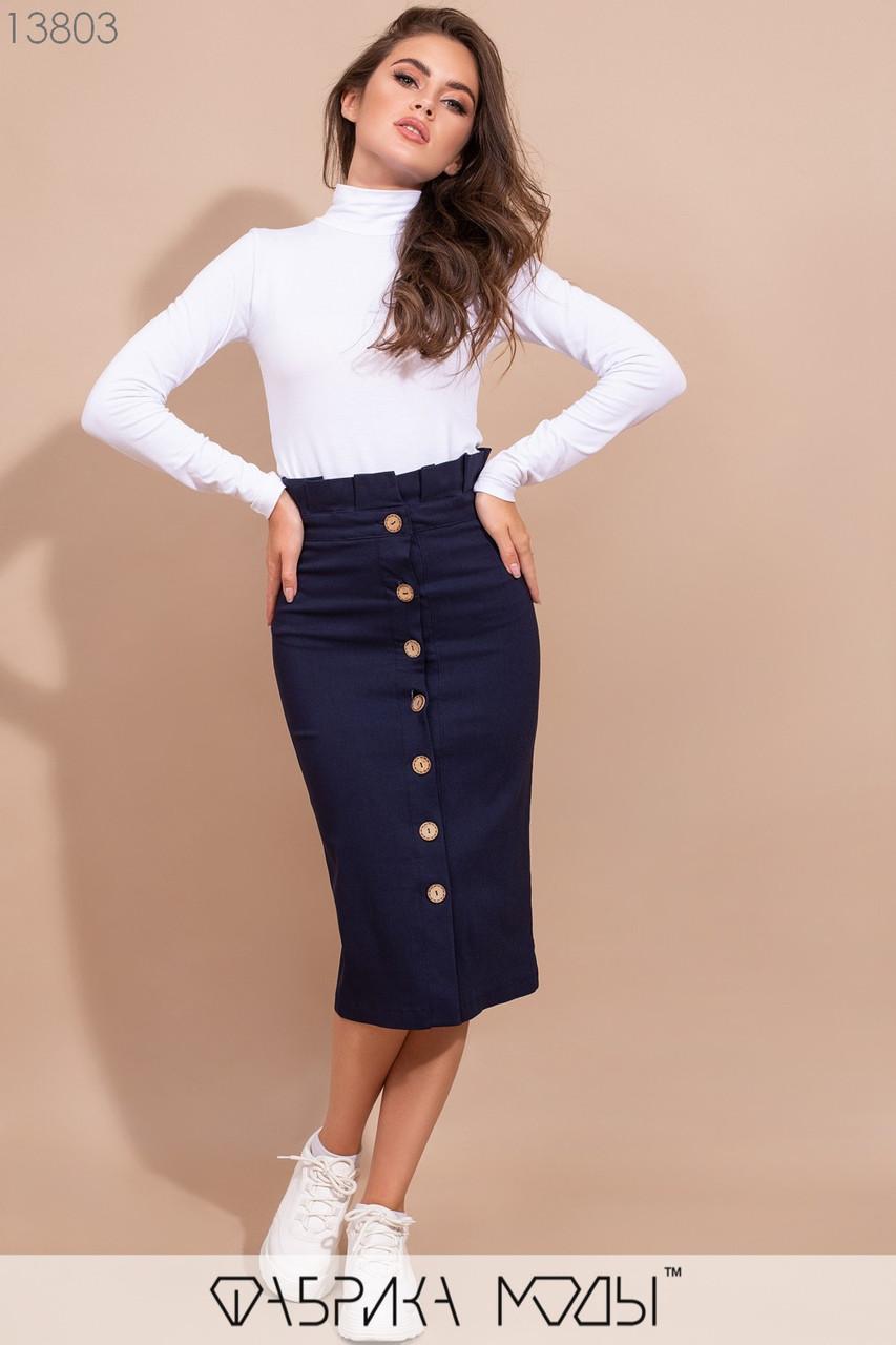 Облегающая юбка высокой посадки с оборкой на талии, пуговицах по всей длине и поясом со шлевками 13803