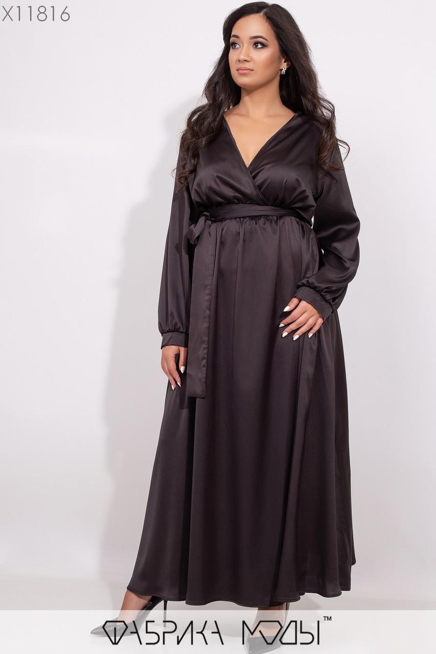 Шелковое вечернее платье в пол с глубоким декольте, длинными рукавами с манжетами и съемным широким поясом по талии на резинке X11816