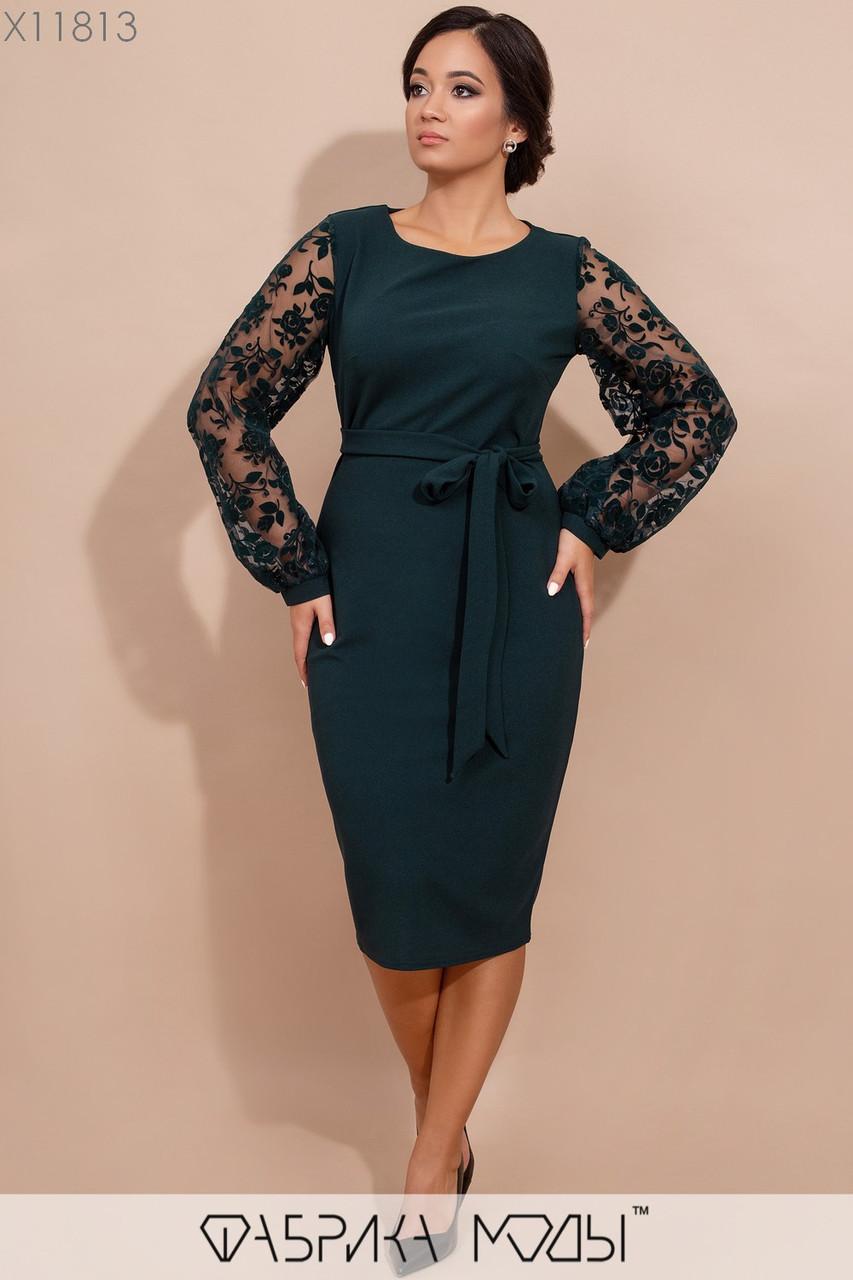 Платье миди с круглым вырезом, полупрозрачными длинными рукавами фонарик из флока на сетке и съемным поясом по талии X11813