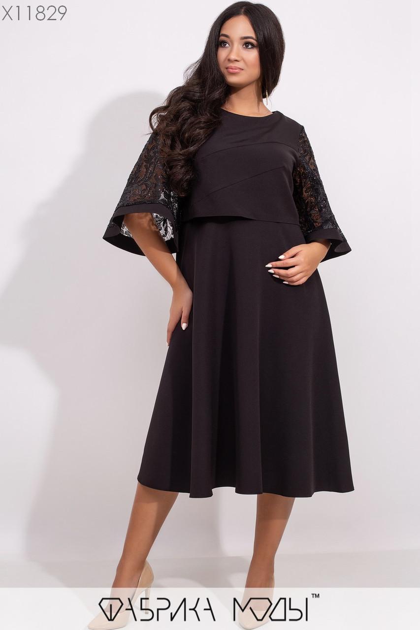 Платье миди А-кроя с вшитой несъемной накидкой с фигурными выточками и вышивкой из пайеток на расклешенных рукавах 3/4 X11829