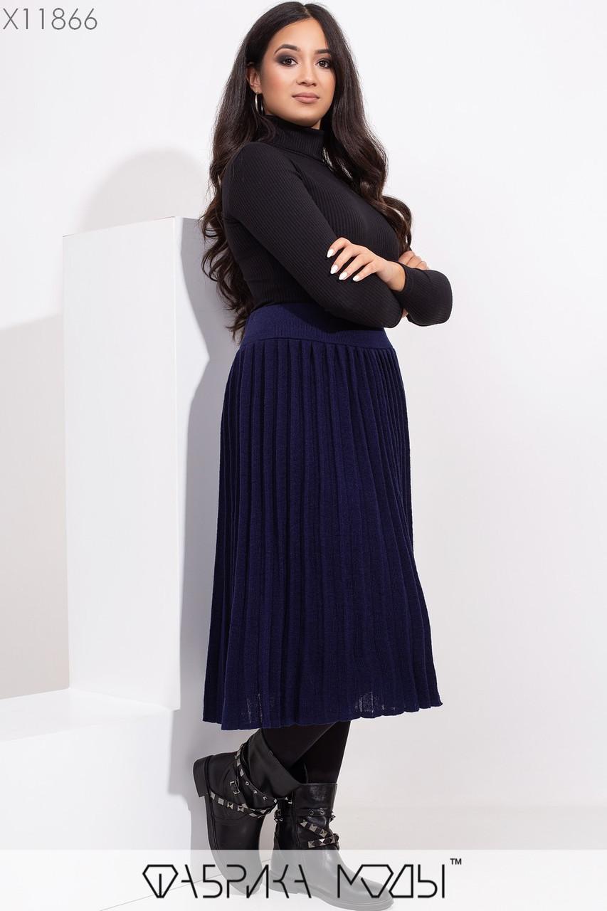 Вязанная плиссированная юбка миди на резинке X11866