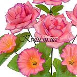 Искусственные цветы букет роз атлас с колокольчиком на подставке, 41см, фото 2