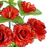 Искусственные цветы букет розы кучерявые с колокольчиком, 44см, фото 2