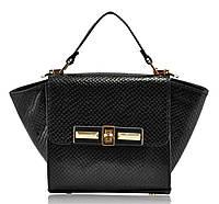 Женская кожаная сумка с ушками черная  питон