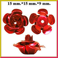 Набор Пайетки Розы Объемные Красные 20 штук Диаметр 15 мм для Рукоделия